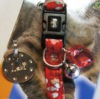 Bright red floral Collar with charm with or without Id tag
